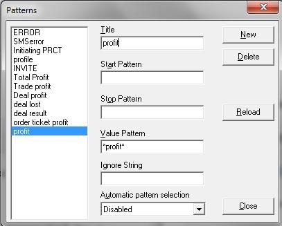 Log Analyzer - Pattern Window